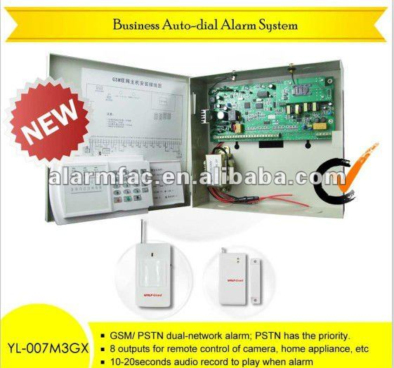 wireless outdoor Business GSM+PSTN 16-zone intelligent alarm security system wireless with photoelectric beam detector