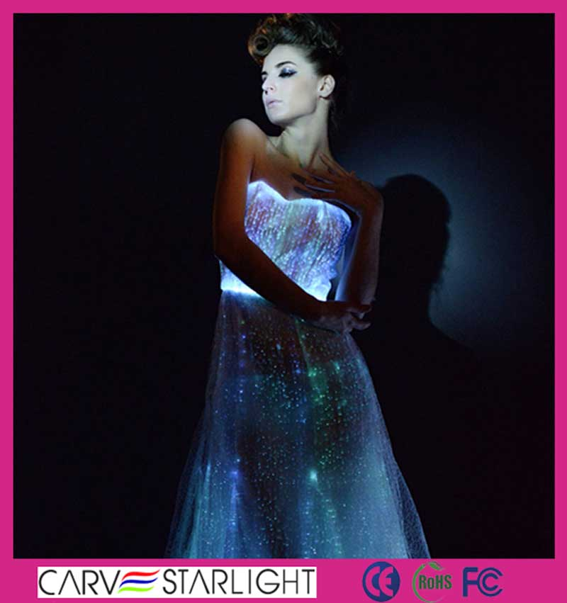 2015 LED glow in the dark luminous sexy low back bridesmaid dresses