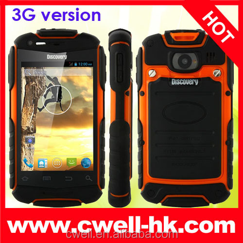 plastic cheap Discovery V5+ WCDMA dual sim rugged waterproof cell phone made in China