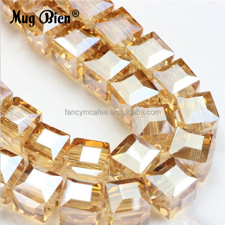 Custom Cube Square Shaped Glass Crystal String Beads For DIY Handbag