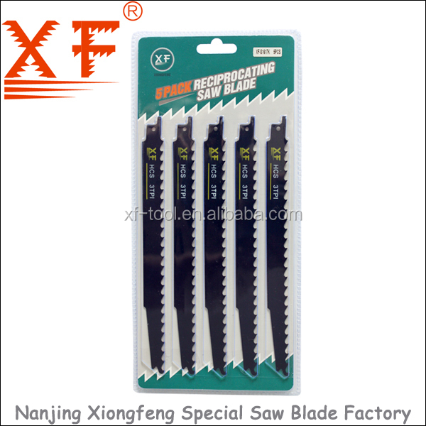 "XF-S1617K 5PCS : 9"" HCS pruning green wood cutting sabre saw blade"