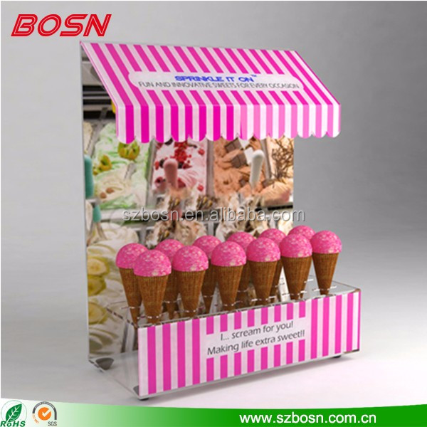 High quality acrylic material food ice cream kiosk design for wholesale