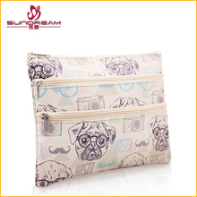 2017 NEW product China suppliers custom Fashion hand canvas cosmetic bag Free Sample three layer PU waterproof toiletry bag