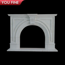 Natural Carved White Victorian Marble Fireplace
