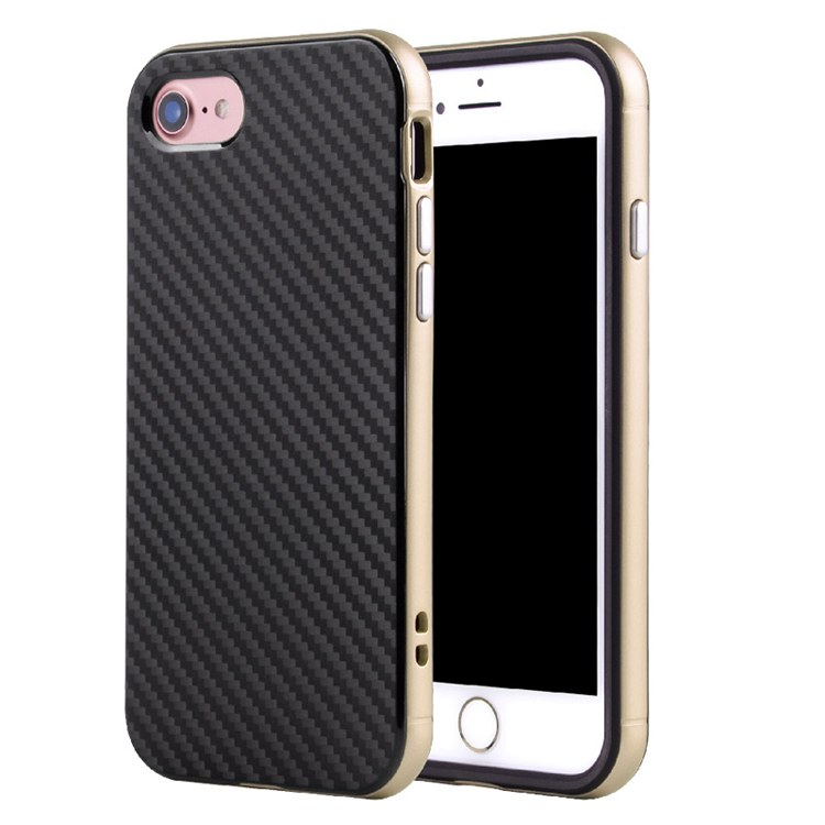 For iPhone 6S Real Carbon Fiber TPU+Aluminum PC Bumper Cool Phone Cases