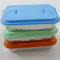 disposable color coated aluminium foil airline casserole with cover