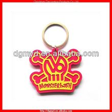 bright color skull shape 2D soft pvc key chain for Halloween gift item (MYD-2224)