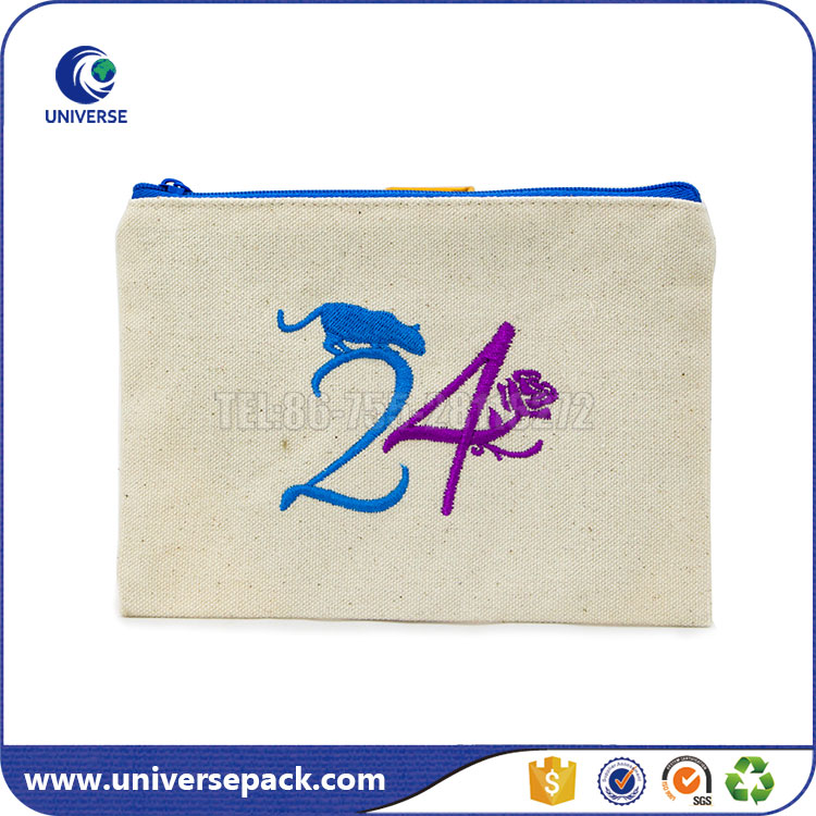 Zipper Top Embroidery Logo Canvas Book Gift Pouch With Satin Lining