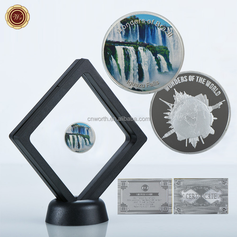 WR Brazil Famous Scenery Iguazu Falls Commemorative Silver Plated Coins Collectible Metal Crafts with Stand Case for Gifts