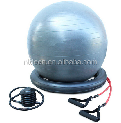 Aerobic fitness yoga ball set with base