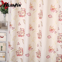 polyester cotton fabric beautiful flower pattern canvas plain embroidery curtain for sale