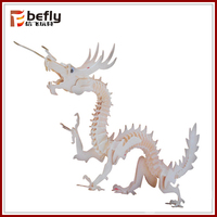 3D handmade assembling toy wooden dragon puzzle