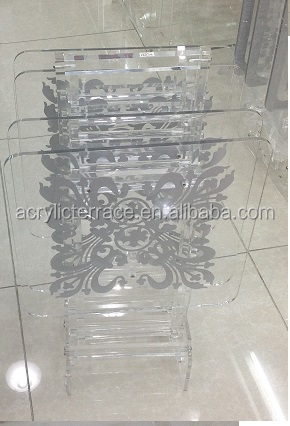 Perspex Acrylic Folding Table Set of 4 with silkscreen pattern