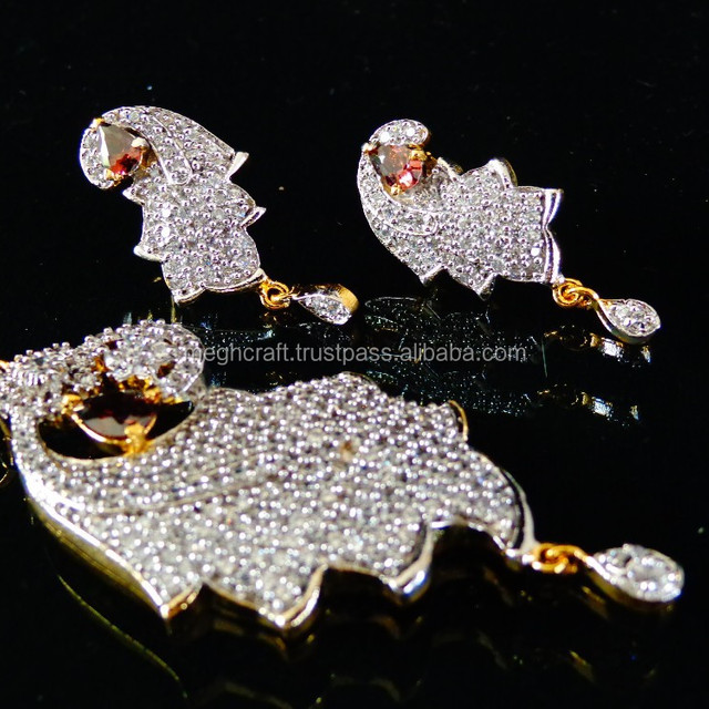 New Artificial American Diamond Designer Red Color Pendants Set for Ladies at Wholesale Prices in India