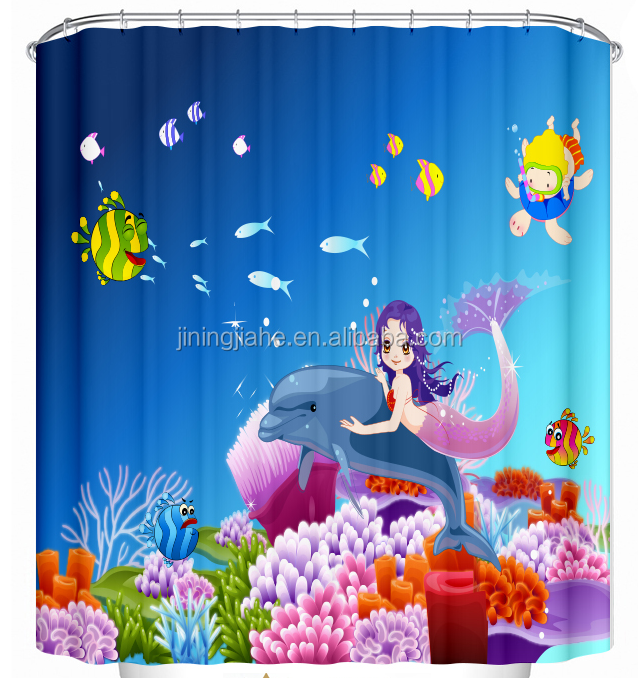 wonderful Sea World print bathroom polyester shower curtain, bath curtain for hotel