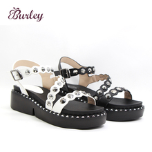Comfortable customeze flat sandals women shoes round toe shoes for ladies
