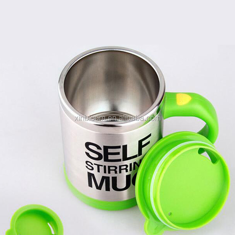 fashion creative electronic self-stirring stainless steel coffee mug with battery,350ml self heating cup