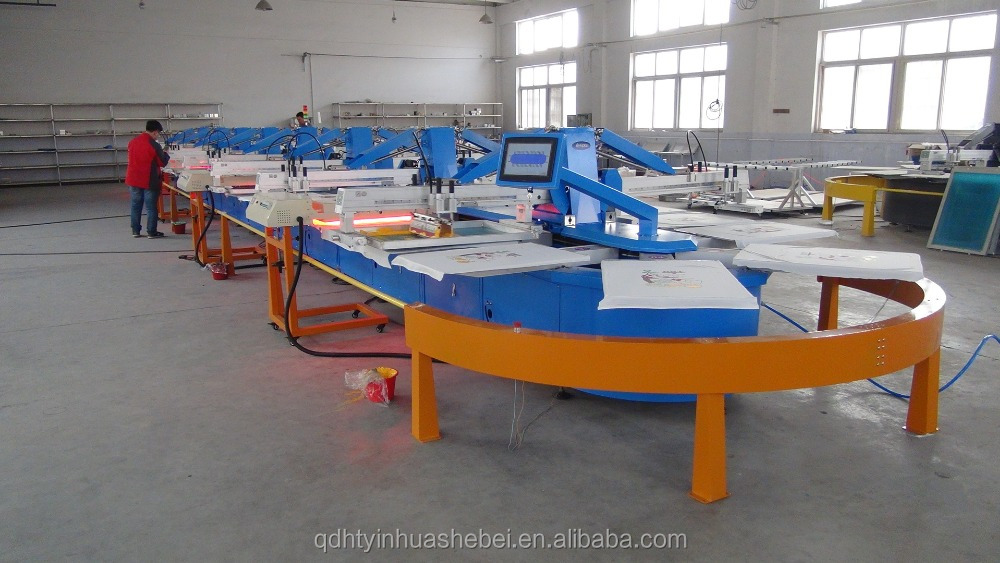 Hwt a oval automatic t shirt silk screen printing machine for T shirt screen printers for sale