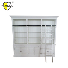 Hamptons Style Medium Hutch Home office white birch European style bookcase with ladder and cabinet