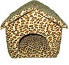 Prefab homes products PETLIKE supply plush leopard print dog bed,innovative pet house