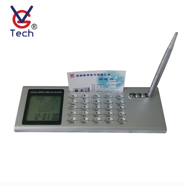 Digital Clock With Calculator And Name Card Holder