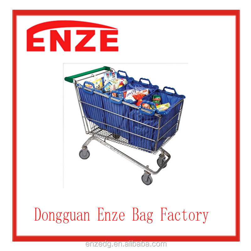 Environmental shopping bag folding tug bag For shopping cart