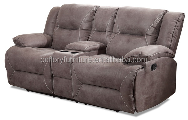 leather look fabric recliner sofa