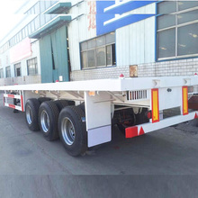 China factory sale tri-axle 40 ton 40 feet container flat bed trailer with 12 container lockers