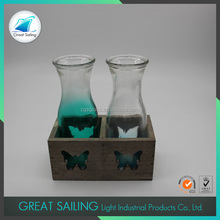 Ocean-style Wholesale Glass Flower Vase with Wood Base