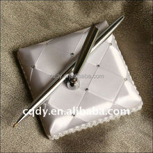 2015 Romantic white rhinstone Wedding Pen stander,metal pen holder,wedding ball pen with book,custom pen holder