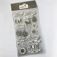 M-P006 Merry Christmas glitter pvc sticker, Eco-friendly custom sticker pvc,pvc vinyl sticker