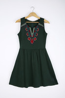 Ladies' Round Neck with Folk Embroidery Slim Sundress