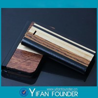Leather Folio Wood Case for iPhone5, for iPhone 5 Leather Wood Case