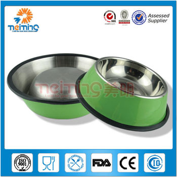stainless steel non-slip colorful dog bowl