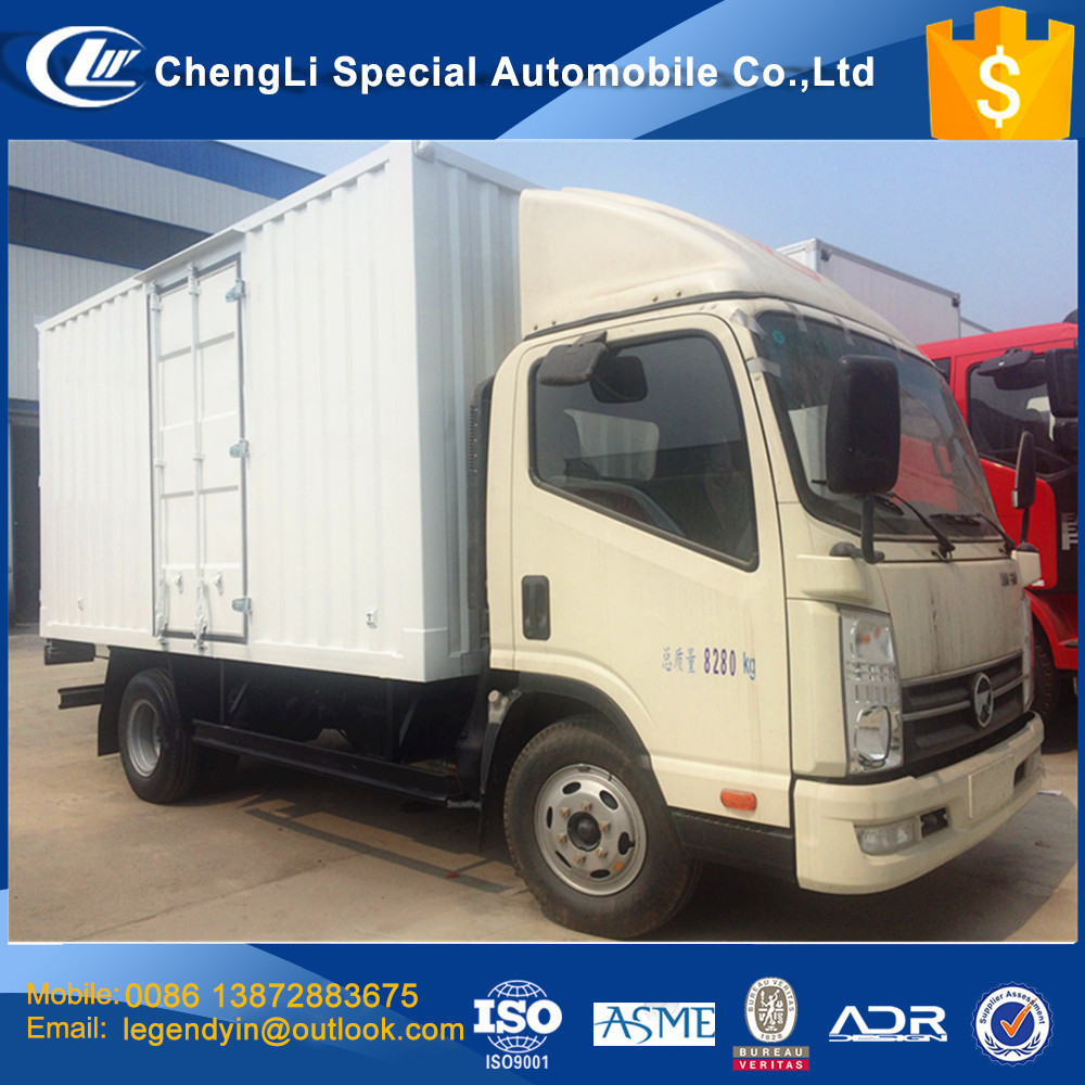 CLW discounted price cheap box truck 4x2 5 tons van cargo truck car with corrugated plate cargo box for sale