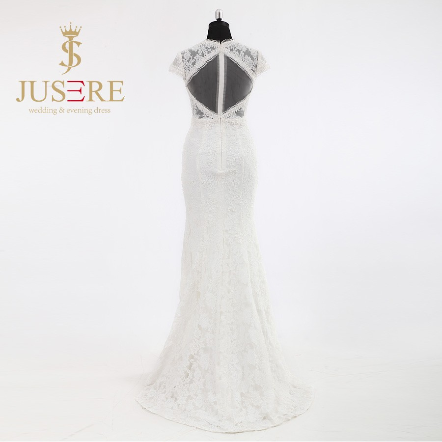 Newest Sexy Lace Appliqued Beaded V Neckline Key Hole Backless Short Sleeves Ivory Lace Mermaid Wedding Dresses 2016