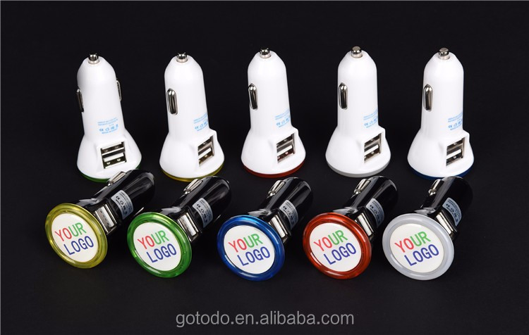 Car dual usb charger with your LOGO and LED ring, micro universal dual usb car charger