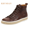 Factory wholesale shoes new fashion style white outsole lace up man footwear italian style casual leather boots for men
