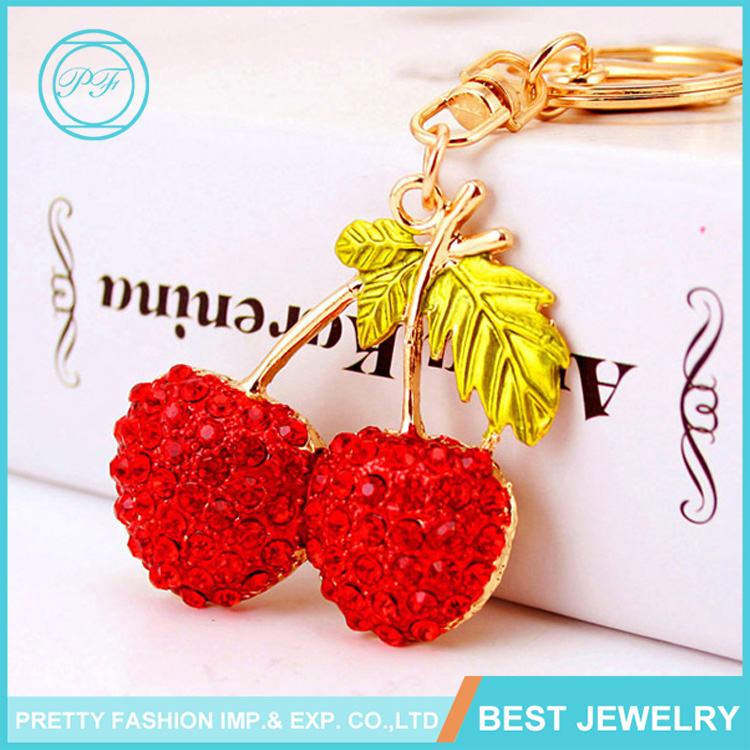 Lovely Fruit Keychain Red Crystal Rhinestones Cherry Keychain For Women Bag Purse Charm