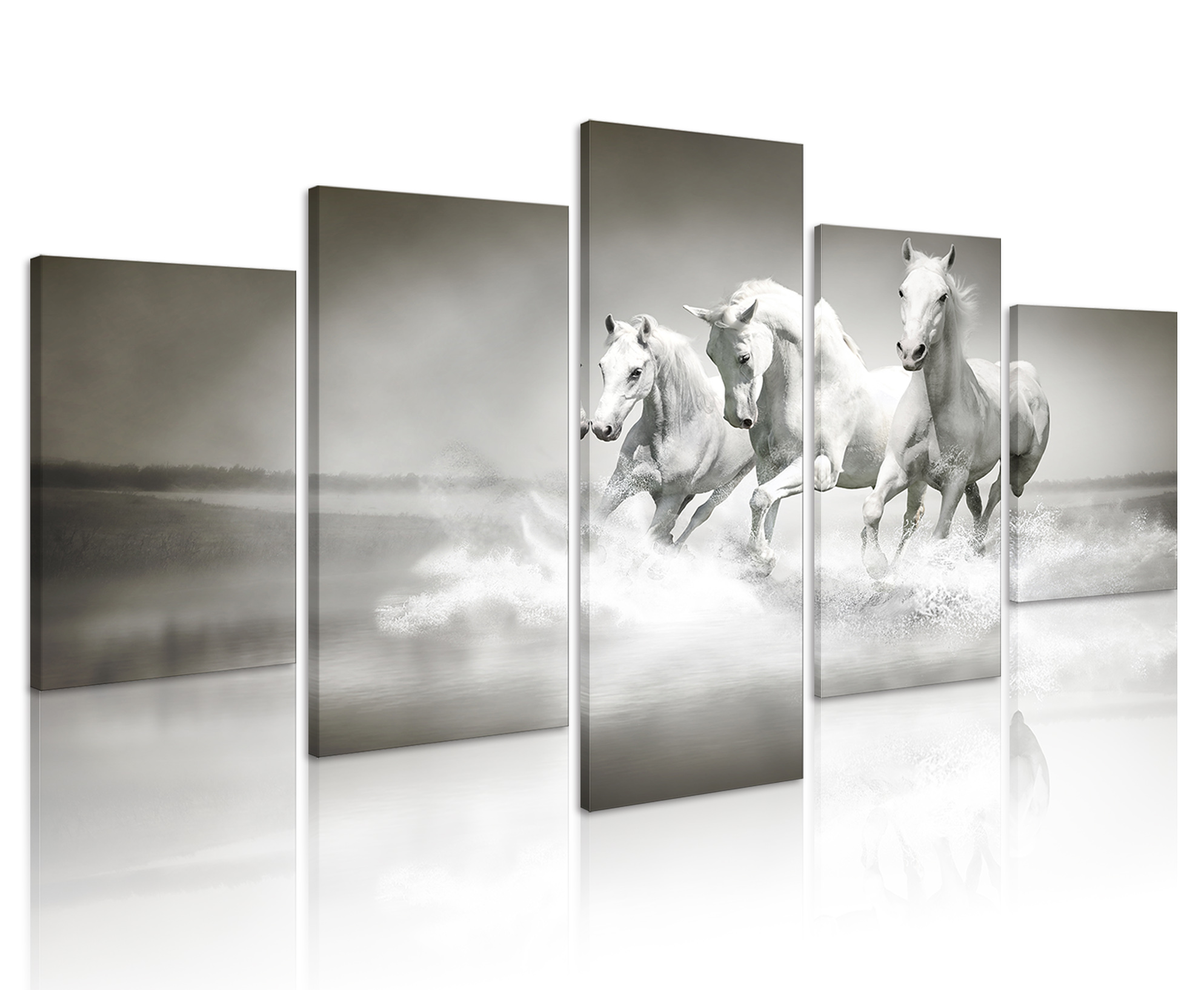 Wall Decoration 5 Panels White Horses Prints Art Animal Canvas <strong>Pictures</strong> with Wooden Frame