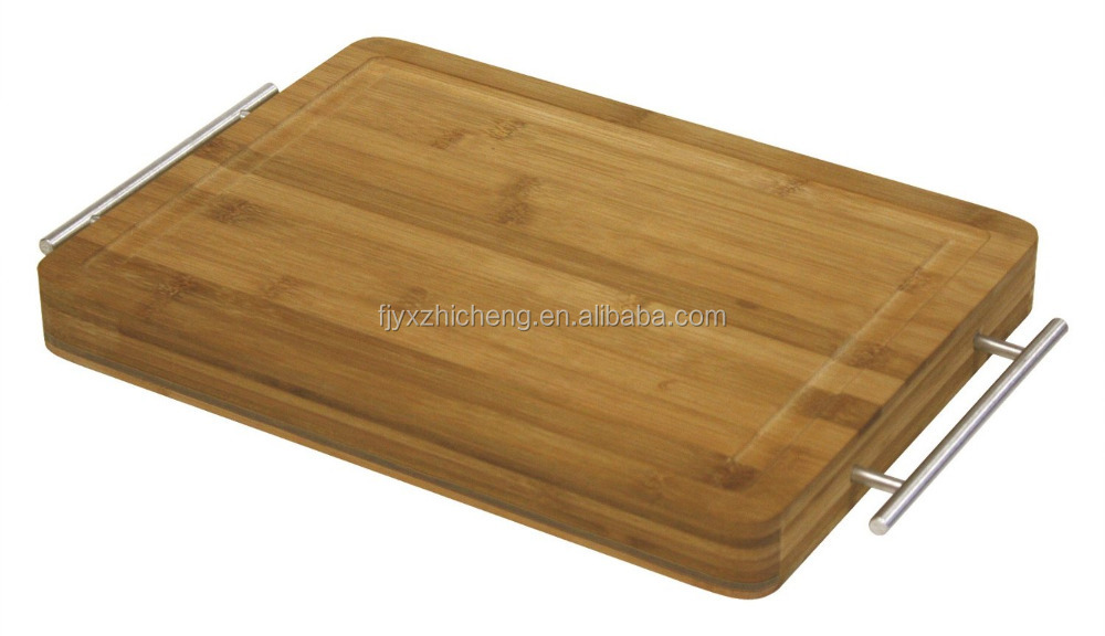 "Simply <strong>Bamboo</strong> thicker15"" X 11"" Carving, Chopping, pizza& Serving Board w/ Metal Handles"