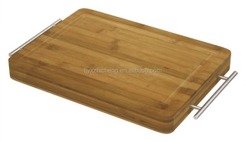 "Simply Bamboo thicker15"" X 11"" Carving, Chopping, pizza& Serving Board w/ Metal Handles"