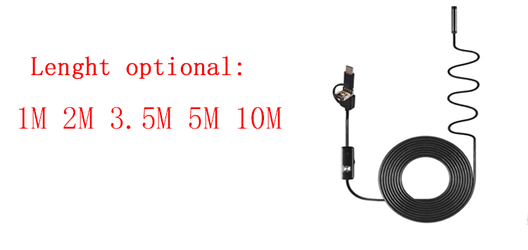 1/2/3.5/5m 3in1 Android USB Type-C Flexible Borescope Inspection Endoscope Camera