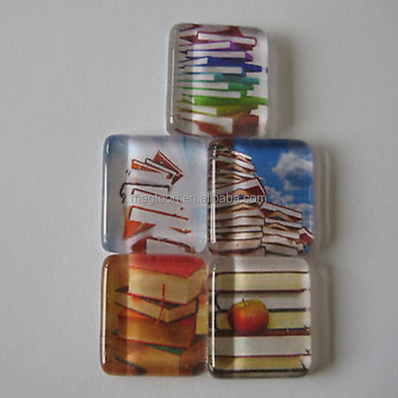 oem custom personalized rectangular shape glass fridge magnet