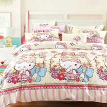 Cheap girls bedroom hello kitty design flat sheet bed sheets