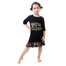 Fall black tassels children frocks designs with saying Jesus in my heart baby dress