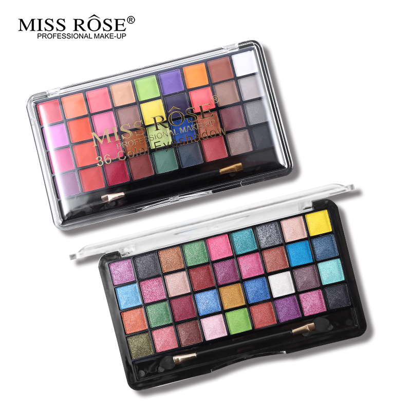 Able Miss Rose Pro Makeup Palette 36 Color Matte Eyeshadow Palette Bright Shimmer Eye Shadow Metallic Pigment Nude Smoky Cosmetic Kit Eye Shadow