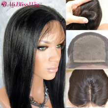 Silk Top Light Yaki Straight Real Human Hair Glueless Natural Hairline Virgin Brazilian Full Silk Cap Lace Wig With Baby Hair