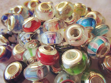 Silver Single Core Murano Lampwork Glass Beads for European Charm Bracelet