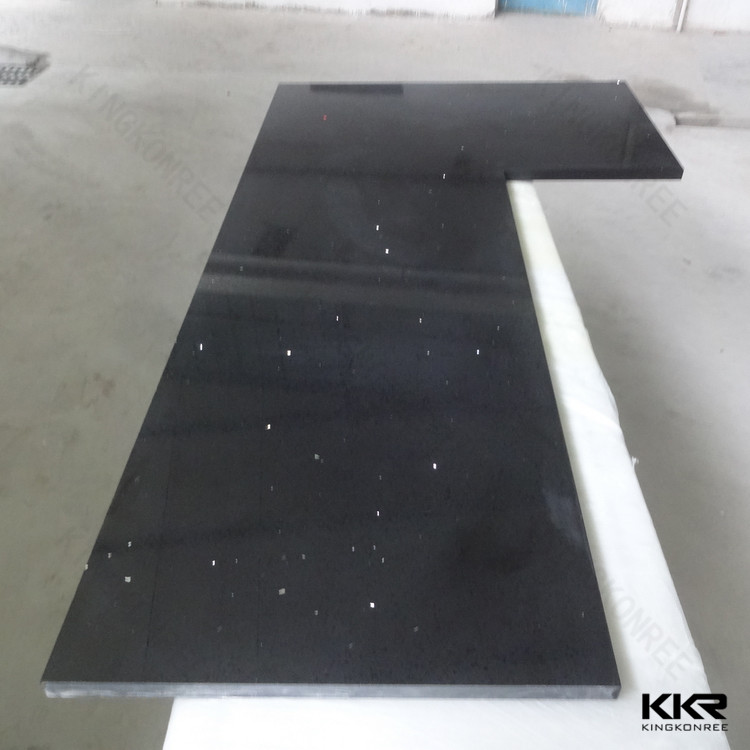 black galaxy prefab composite quartz countertop